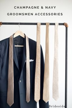 Navy Suits with Champagne Ties for Groomsmen