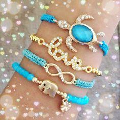 Set of four separate bracelets.adjustable/elastic stretch.