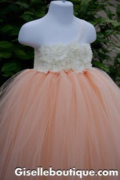 Hey, I found this really awesome Etsy listing at http://www.etsy.com/listing/150779201/flower-girl-dress-peach-with-ivory