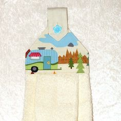 1 Hanging Hand Towel - Ivory Plush Towel With Button in Scenic Camper Print - RV Camping Decor * You can find more details by visiting the image link.