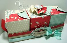 Box trio, holds goodies inside; template free to download
