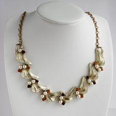 Vintage Coro Topaz & Amber leaf Necklace - Designer Signed by PinkAstilbe,