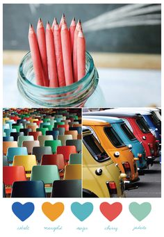 Today's color palette is all about cool, retro-inspired primary colors. And I basically love it. There's something about bright cobalt blue paired with funky hues of marigold, jadeite and cherry red that I just adore. Plus, I basically can't get enough of this image of rainbow-colored Mini Coopers. I mean, seriously, what's not to love?