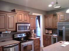 Grey Kitchen Walls With Oak Cabinets colors to go with oak cabinets: benjamin moore copper patina