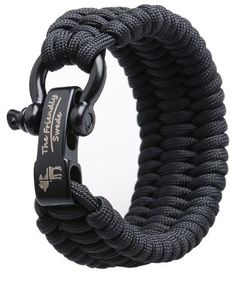 Extra Long XXL trilobite extra beefy / wide 500 lb (227 kg) paracord survival bracelet with stainless steel black bow shackle. One spare bolt in small sealed plastic bag included http://survivalism-life.com/ Adjustable size id...