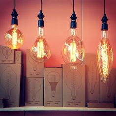 Glowing bulbs from Brooklyn Design Week Destin Hotels, Vintage Industrial Lighting, Accent Lighting, Mason Jar Lamp, Light Decorations, Decorative Accessories, Floor Lamp, Light Bulb, Sconces