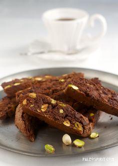 Paleo Chocolate Pistachio Biscotti:: PaleoSpirit.com(says to use honeyville almond flour)
