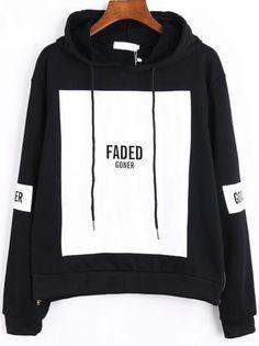 Black White Hooded Patterns Letters Print Loose Sweatshirt 18.88