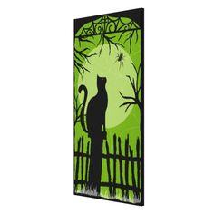 halloween canvas | halloween black cat on fence canvas print - Zazzle.com.au