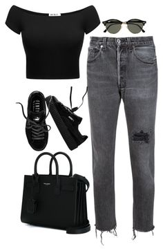 """Untitled #184"" by simonakolevaa ❤ liked on Polyvore featuring RE/DONE, Puma, Yves Saint Laurent and Ray-Ban"