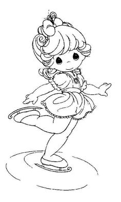 Cute skating child - Precious Moments coloring pages.