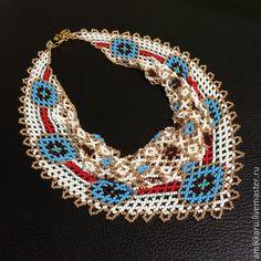 Купить Колье косынка из бисера - косынка из бисера, колье косынка, колье из бисера, ожерелье из бисера