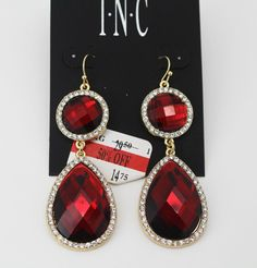 INC International Concepts Gold-Tone Red Stone Double Drop Earrings #INCInternationalConcepts #DropDangle