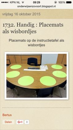 Placemets als wisbordjes op de instructietafel Organization And Management, Classroom Organization, Classroom Management, Teaching Class, Visible Learning, School Hacks, School Teacher, Second Grade, Polka Dots