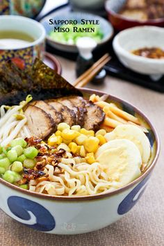 Hearty and flavorful Sapporo Style Miso Ramen topped with slices of teriyaki pork tenderloin, hard boiled eggs, bean sprouts, corn, and bamboo shoots. Ramen Recipes, Asian Recipes, Cooking Recipes, Healthy Recipes, Ethnic Recipes, Homemade Ramen Noodle Recipes, Bento, Ramen Bowl, Japanese Recipes
