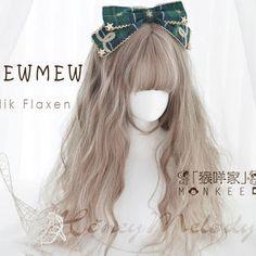 MEW MEWーSilk Flaxenー Kawaii Hairstyles, Pretty Hairstyles, Wig Hairstyles, Anime Wigs, Anime Hair, Pastel Wig, Kawaii Wigs, Pelo Multicolor, Lolita Hair