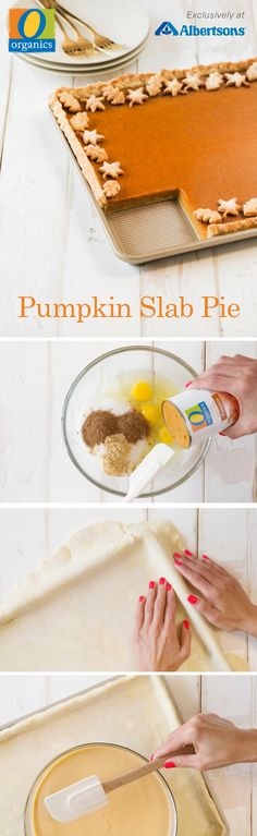 With only 20 minutes of prep time, this Slab Pumpkin Pie could not be easier! O Organics® 100% Pure Pumpkin is exclusive to Albertsons and gives this fresh take on holiday baking a festive and flavorful spin, bursting with pumpkin pie spice and ginger! Cut this homemade slab pie into bite size bars for simple and sweet on-the-go treats!