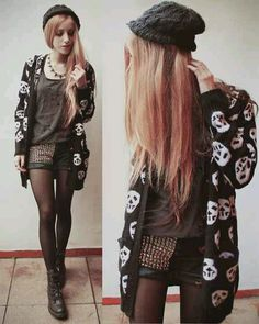 Vaguely punk look. Edgy Outfits, Cool Outfits, Fashion Outfits, Womens Fashion, Fashion Fashion, Fashion Ideas, Vintage Fashion, Alternative Mode, Alternative Fashion