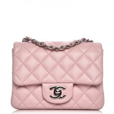 This is an authentic CHANEL Lambskin Quilted Mini Square Flap in Light Pink. This petite mini shoulder bag is crafted of luxurious quilted lambskin leather in pink.