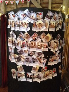 The morning after.... 350 pictures pegged up to the side of the booth with good luck messages to the happy couple.... such a lovely idea and has given us some great memories  #photobooth #vintage #wedding #retro #Polaroid #booth