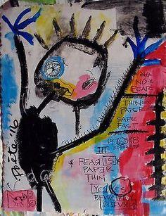 POETE-MAUDIT-Street-Art-Outsider-Painting-Naive-Brut-FEAR-IS-PAPER-THIN Basquiat, Art Brut, Funky Art, Naive Art, Art For Art Sake, Kawaii Art, Outsider Art, Conceptual Art, Les Oeuvres