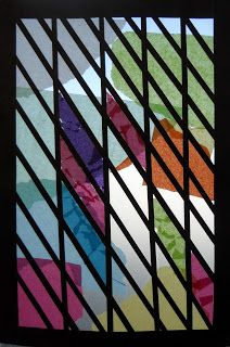 Create Art With Me!: Frank Lloyd Wright Faux Stained Glass *instead of sandwiching tissue paper between 2 sheets of contact paper, stick to the window to create a diy stained glass privacy film for a window!