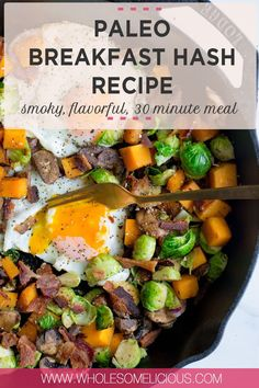 Cozy up with a cup of coffee or tea and treat yourself to a Paleo Breakfast Hash Recipe! So many nourishing ingredients like butternut squash, Brussels sprouts, mushrooms, and eggs. We get an extra dose of smoky and salty flavor by adding in crispy bacon!! Simple to make in less than 30 minutes, and exactly what you need to kickstart your morning. Paleo and Whole30 compliant! Breakfast Hash, Fall Breakfast, Fall Recipes, Real Food Recipes, Hash Recipe, Whole30 Recipes, Brussels Sprouts, Healthy Breakfast Recipes, Meals For The Week