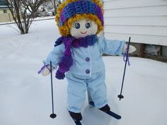 Skiing Doll, Handmade Cloth 14 Inch tall Doll in Blue Ski Outfit by HandcraftedByCJay on Etsy