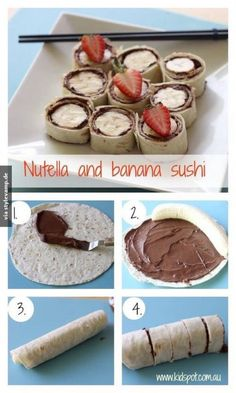 it: messy and better for at home lunch Nutella and banana sushi. maybe an alternative to nutella? i just don't like nutellaMade it: messy and better for at home lunch Nutella and banana sushi. maybe an alternative to nutella? i just don't like nutella Snack Recipes, Dessert Recipes, Cooking Recipes, Sushi Recipes, Nutella Recipes, Nutella Snacks, Kraft Recipes, Healthy Recipes, Sushi Dessert