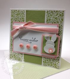 "Cute Easter Card by Mary Fish using the Stampin' Up! stamp set ""Delightful Dozen"""