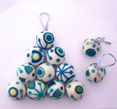 Christmas ornaments 3 felted wool balls white teal by astashtoys