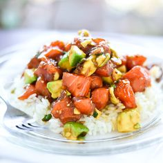 Not all poke bowls are tuna-based. Try this top saved recipe for a salmon & avocado poke bowl. Salmon Recipes, Fish Recipes, Seafood Recipes, Asian Recipes, Cooking Recipes, Healthy Recipes, I Love Food, Good Food, Yummy Food