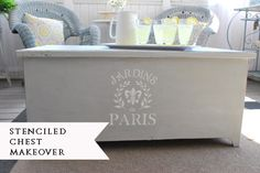 An easy, inexpensive DIY. How to transform a thrift store chest into a pretty coffee table using Annie Sloane Chalk Paint in Pairs Gray and an ETSY Paris Stencil. Cedar Chest Redo, Painted Cedar Chest, Repurposed Furniture, Shabby Chic Furniture, Painted Furniture, Refinished Furniture, Furniture Makeover, Diy Furniture, Restoring Furniture
