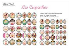 ° Les Cupcakes ° - Page digitale pour cabochons - 60 images numériques à imprimer