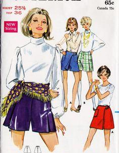 1960s Mini Pantskirt or Skorts Vintage Sewing by MissBettysAttic, $8.00