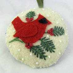 Handmade Applique Ornament Cardinal Red Felt Wool by DodadChick