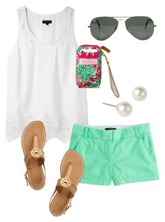 Young & Preppy by classically-preppy on Polyvore featuring rag & bone, J.Crew, Tory Burch, Givenchy, Ray-Ban, wristlets, gladiator sandals, pearl earrings, mint green and flat sandals