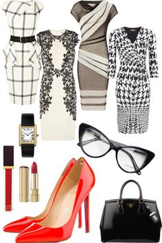 """Executive chic business attire with a pop of red: black patent Prada bag, red patent louboutin pumps, Cartier tank watch, dolce and gabanna red lipstick, Tom ford red lip gloss."" by ekbarrios"