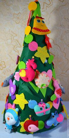 Development Toy / Развивающая елка ручная работа, игрушки из фетра - комбинированный, развивающая игрушка, елка новогодняя