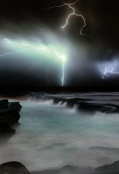 A bright beam of lightening that streaks out and temporarily illuminates the sea around it