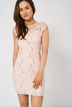 Pink Lace Bodycon Mini Dress