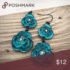 Patina Rose Flower Earrings Brand new patina rose dangle earrings with Rhinestone accent. Boho, gypsy, southern, southwest, western, rodeo, cowgirl style. Jewelry Earrings