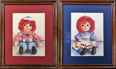 """Raggedy Ann & Andy"" Pair of Original Watercolors by A. Brockett"