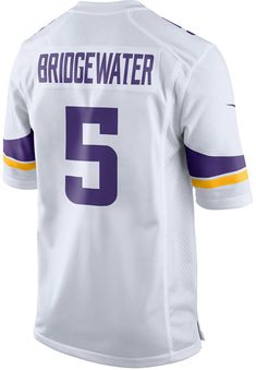 Do a double shout-out to the Minnesota Vikings and Teddy Bridgewater with this Nike NFL Game jersey. This replica sports the player's number on both sides, with his last name featured across the back. V-neckline with TPU shield Short sleeves Screen print player number at front Screen print team graphics and Nike swoosh logos at sleeves Screen print player name and number at back Jock tag at hem Tagless Officially licensed Game day jersey Polyester Machine washable