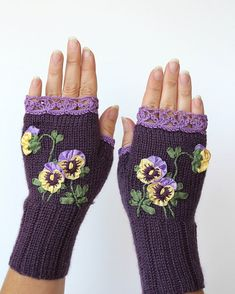 Hand Knitted Fingerless Gloves Pansy Violet by nbGlovesAndMittens