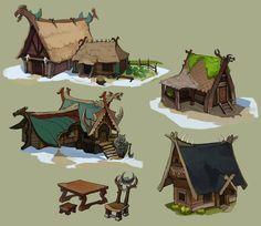 Viking huts and by Shagan-fury on DeviantArt Environment Concept Art, Environment Design, Fantasy House, Fantasy Art, Village Drawing, Viking Character, Viking House, Viking Village, Vikings Game
