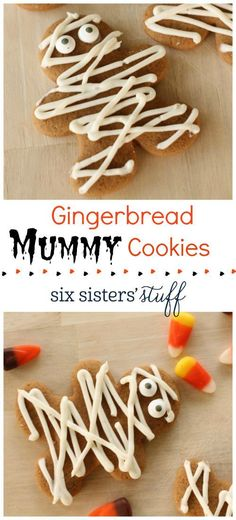 Gingerbread Mummy Cookies on http://SixSistersStuff.com