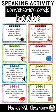 Ignite conversation in your classroom with these engaging conversation starter cards about books and reading. A total of 40 cards with one or more questions per card. Learn English Speaking, Learning English For Kids, English Language Learning, Teaching English, German Language, Japanese Language, Teaching Spanish, Spanish Language, French Language
