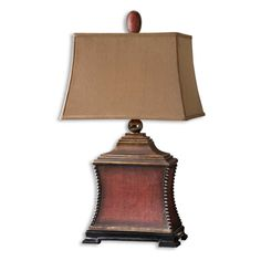 Pavia - One Light Table Lamp Aged Red/Antiqued Silver/Matte Black/Antiqued Gold Finish with Silken Rust Taupe Fabric Shade Red Table Lamp, Light Table, Table Lighting, Rustic Lamps, Rustic Decor, Rustic Backdrop, Rustic Bench, Rustic Cake, Rustic Shelves