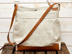 Handmade BEST SELLER Diaper bag / Messenger bag  Eco friendly ORGANIC Linen French tote bag with Brown Leather strap 10 Pockets